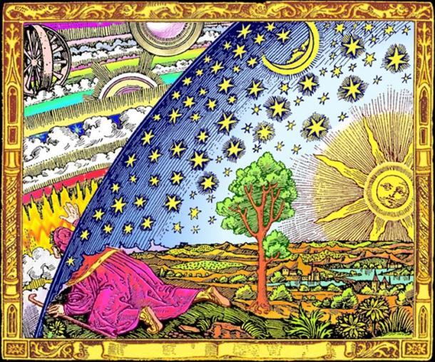 "Colored version of 1888 black-and-white Flammarion engraving called ""Universum"" wherein a man pokes his head through the firmament of a flat Earth to view the mechanics of the spheres."
