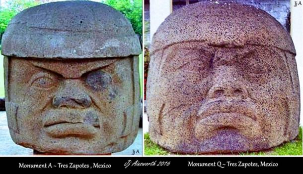 Colossal Heads - Tres Zapotes, Mexico - Monument A (top left) and Monument Q (top right and bottom).