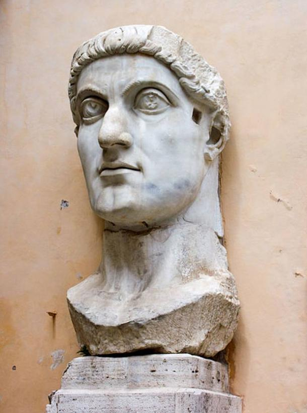 Colossal marble head of Emperor Constantine the Great, Roman, 4th century, located at the Capitoline Museums, in Rome.