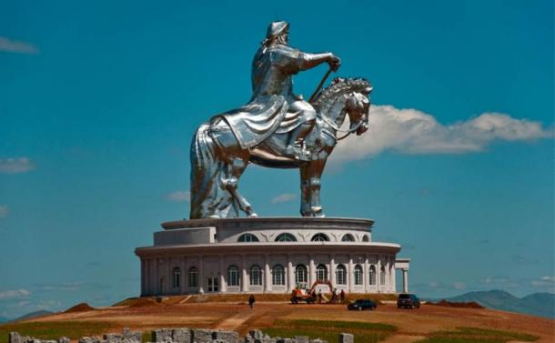 Colossal statue of mounted Genghis Khan, Ulan Bator.