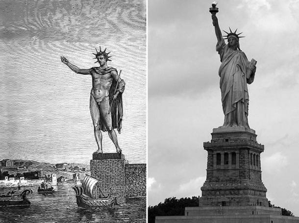 Colossal statues, then and now. Left, illustration of the Colossus of Rhodes in ancient Greece, and right, the Statue of Liberty of the United States of America.