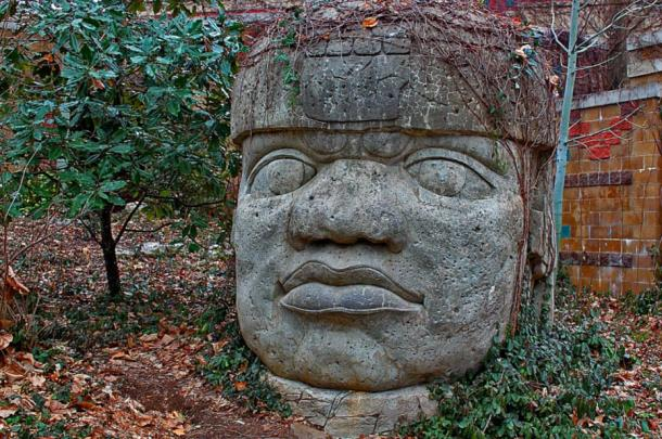 Colossal stone head of the Olmecs
