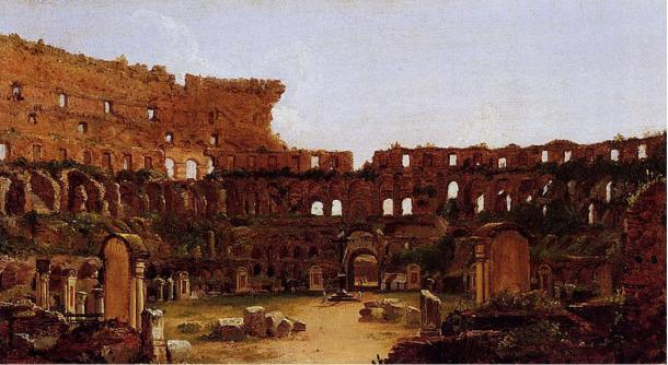 Painting of the Colosseum in Rome in 1832, showing extensive disrepair and vegetation.