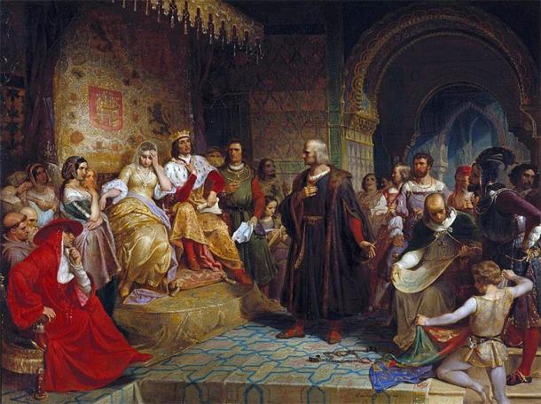 'Columbus before the Queen' (1843) by Emanuel Leutze. (Public Domain)