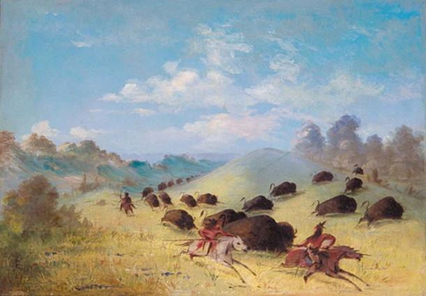 'Comanche Indians Chasing Buffalo with Lances and Bows' (1849-1848) by George Catlin. (Public Domain)