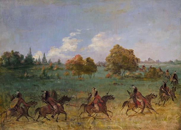 'Comanche War Party on the March, Fully Equipped' by George Catlin. (Public Domain)
