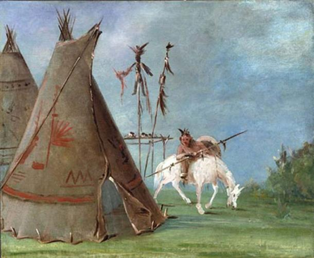 'Comanche tipi and warrior' (1835) by George Catlin. (Public Domain)