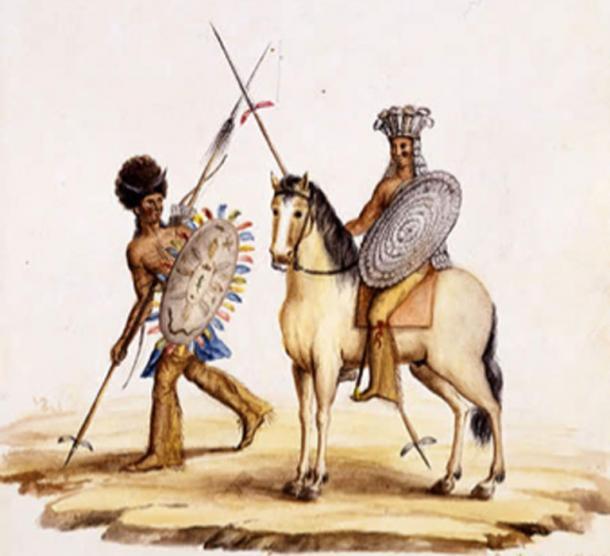 Comanches of West Texas in war regalia. (Public Domain)