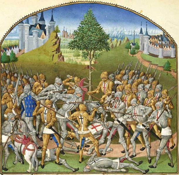 A 15th century depiction of the Combat of the Thirty, in the Compillation des cronicques et ystoires des Bretons by de Pierre le Baud, 1480. (Public Domain)