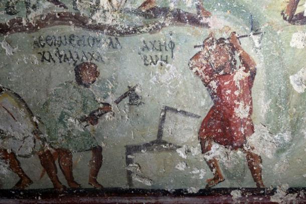 Comic like speech 'bubbles' were found on Roman tomb in Jordan. (Image: CNRS)