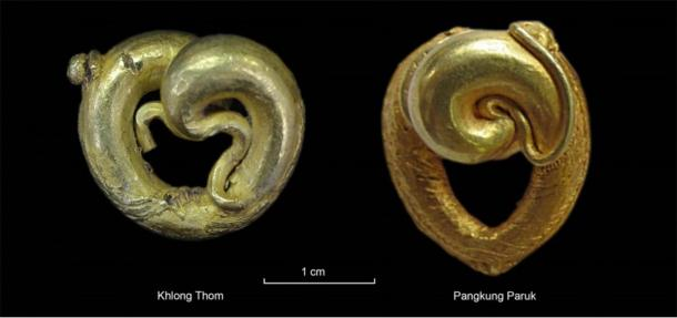 Comparison between gold ear pendants from Khlong Thom (another excavation site on Thai-Malay Peninsula) and Pangkung Paruk. (left: A. Reinecke & right: A. Calo / Antiquity Publications Ltd)