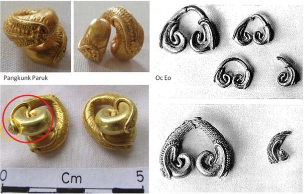 Comparison between Bali gold ear pendants (left) and Oc Eo gold ear pendants with the circles highlighting the similarity of the decorative schemes. (right: A. Calo & left: Malleret (1962) / Antiquity Publications Ltd)