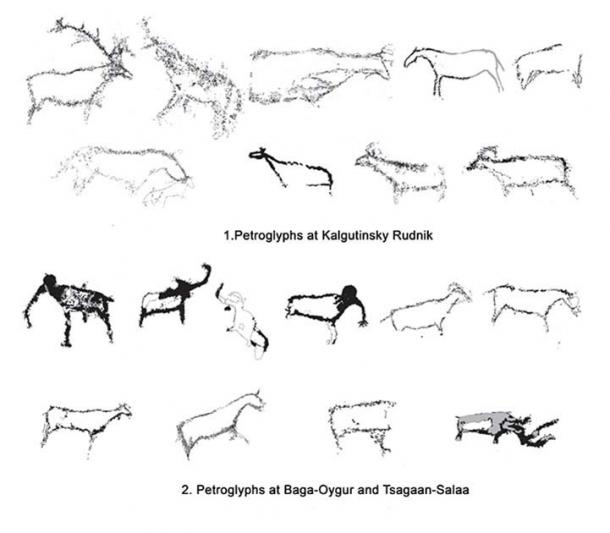 Comparison of the Paleolithic rock art at the Kalgutinsky Rudnik site to the petroglyphs at Baga-Oygur and Tsagaan-Salaa sites. (Vyacheslav Molodin et al. / Siberian Times)