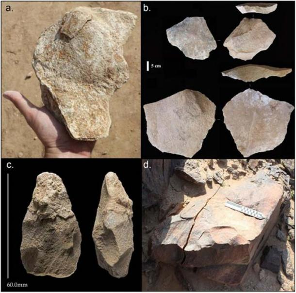 Composite figure of lithics from Saffaqah Layer E, (a) large flake with eraillure flake still attached; (b) large flakes; (c) typical handaxe; (d) giant andesite core. Modified from Shipton and colleagues. (Whalen, N. et al.)
