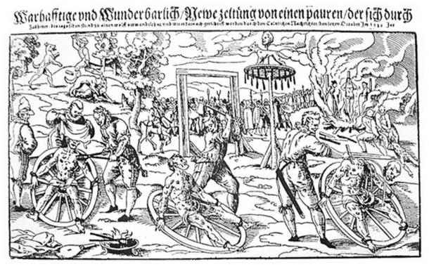 Composite woodcut print by Lukas Mayer of the execution of Peter Stumpp in 1589 at Bedburg near Cologne