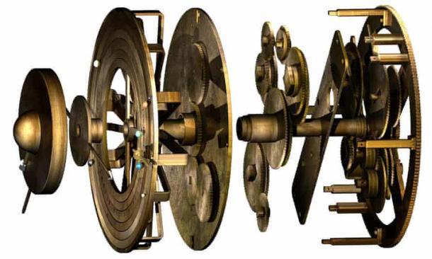 Computer model of the mechanism's gears.