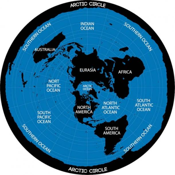 Conceptual scheme. Map of the flat Earth theory. (chocolatefather / Adobe)