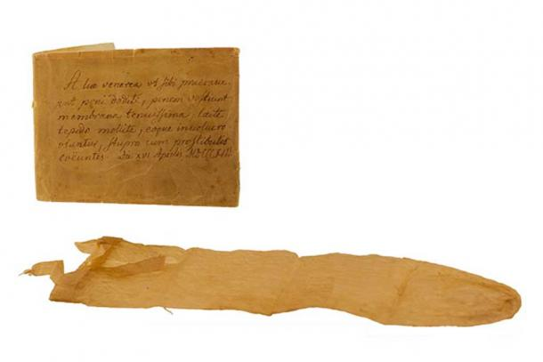 Condom with Latin manual from 1813 Lund University Historical Museum.