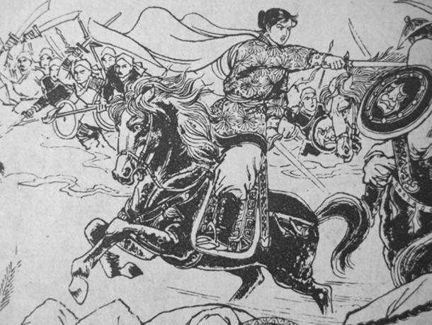 Wang Cong'er in battle.