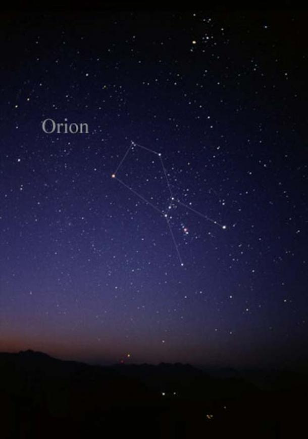 Constellation Orion as it can be seen by the naked eye.