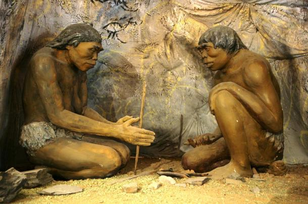 Control of fire by early humans. A diorama showing ancient cavemen in the National Museum of Mongolian History in Ulaanbaatar, Mongolia.