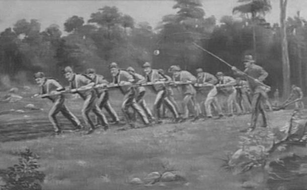 Convict laborers, Australia (Public Domain)