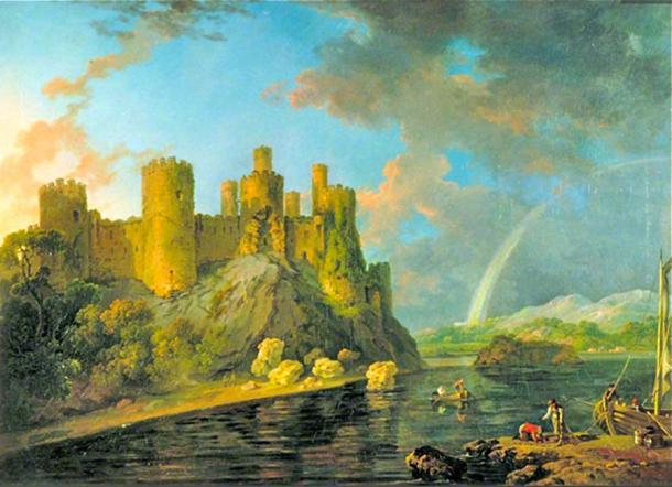 Conway Castle with rainbow after a storm (circa 1778) by George Barret Sr. (Public Domain)