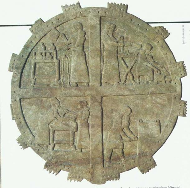 Cooks at work in the royal kitchens. Relief from Ashurbanipal's palace at Nineveh 7th century BC. (Yale University Library)