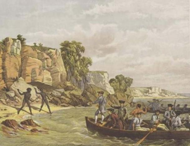Cook's landing at Botany Bay in 1770. Lithograph by unknown artist, first published in the Town and Country Journal New South Wales, 21 December 1872 (Public Domain)