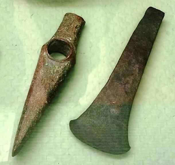 """Copper Axes. These are from the Middle Copper Age in Hungary (c. 3500-2799) by the """"Baden Culture"""". They are at the Budapest History Museum. (Bjoertvedt/CC BY SA 4.0)"""