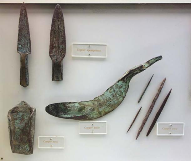 Copper knife, spear points, awls, and spade, from the Late Archaic period, Wisconsin, 3000 BC-1000 BC