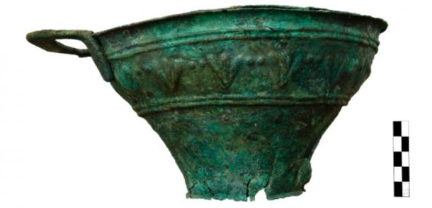 Copper vase uncovered at the Minoan excavation site. (Greece Ministry of Culture and Sports)