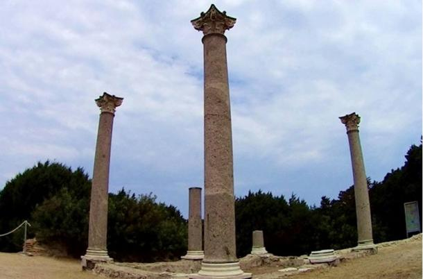 The residence had bedrooms and a large living room with a view of the sea built on three terraces around a courtyard or peristylium. The columns have Corinthian capitals.