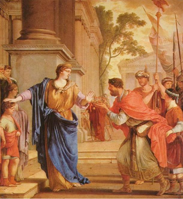 'Cornelia rejects the crown of the Ptolemies' (1646) by Laurent de La Hyre.
