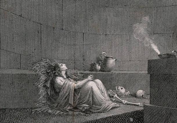 Cornelia, the Vestal Virgin, entombed alive surrounded by bones in the dungeon. Line engraving by G. Machetti after B. Pinelli.