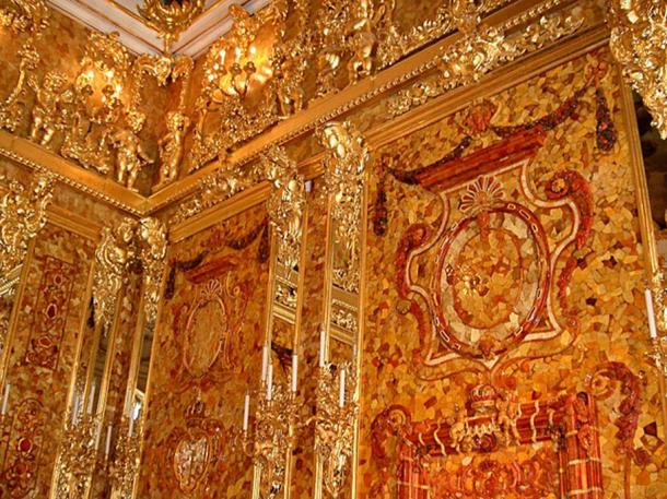 Corner section of the reconstructed Amber Room.