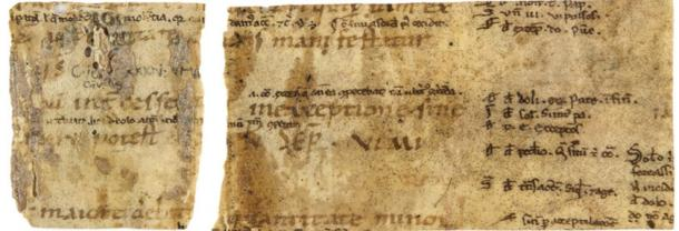 Two manuscript fragments of the Corpus Iuris Civilis, issued by order of Emperor Justinian