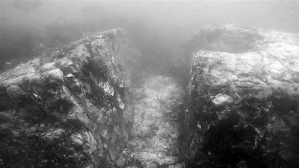 Corridor paving stones found underwater at the site.