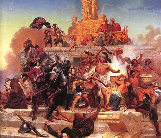 Cortés with stout armored band fights his way back into Tenochtitlan