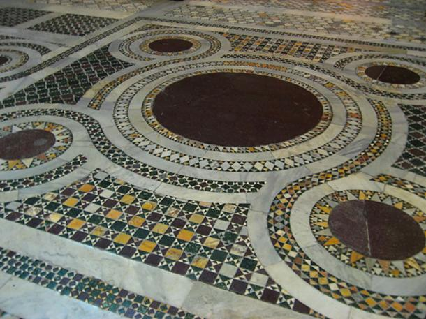 Detail of Cosmatesque floor, in Santa Croce in Gerusalemme, Rome.