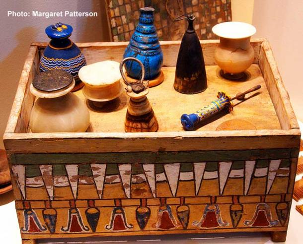 Cosmetics chest of Merit, the wife of the royal architect Kha (Eighteenth Dynasty). The well-stocked tomb of this couple who were buried together, was discovered intact by Ernesto Schiaparelli in 1906. Museo Egizio, Turin, Italy.