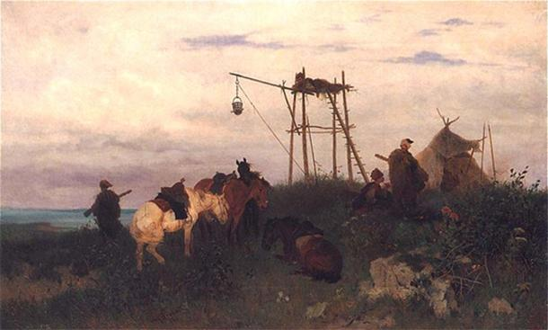 Cossack Watch over the Dnieper by Jozef Brandt (1841–1915). (Public Domain)