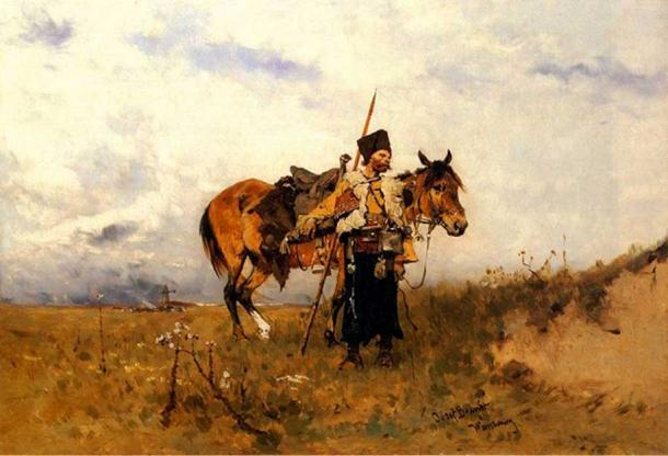 'Cossack on duty' by Józef Brandt. (Public Domain)