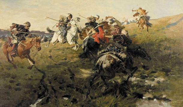 Cossacks fighting Tatars from the Crimean Khanate (1890) by Józef, Brandt.