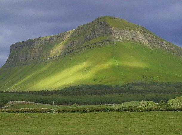 Ben Bulben, County Silgo, Ireland. The Battle of the Books (instigated by St. Columba) reportedly took place on the slopes of Ben Bulben in 560 AD.