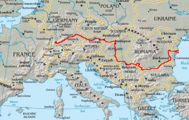 Course of the Danube, marked in red.