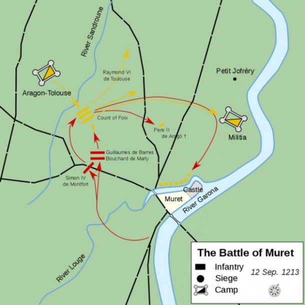Course of the Battle of Muret, which led to the defeat of the Cathars. (Macesito / CC BY-SA 4.0)
