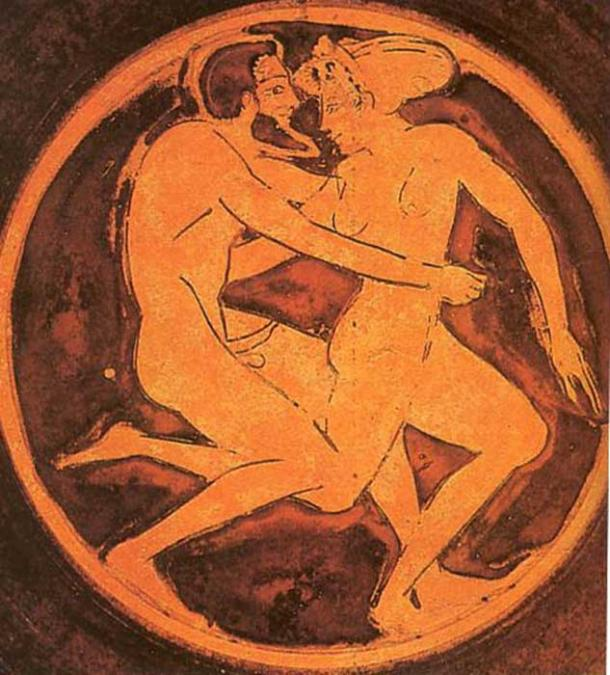 Courtesan and her client. Tondo of a red-figure cup, circa. 510-500 BC. (Public Domain)