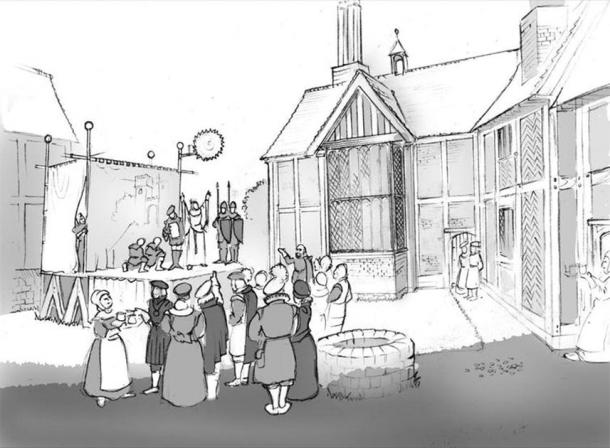 The New Place Courtyard with a stage erected, players and invited audience, based on reconstructions of performances at the courtyard inn theatres. Illustration by Philip Watson, Author provided (No reuse)