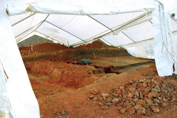 Covered excavations at the site. (ibna)